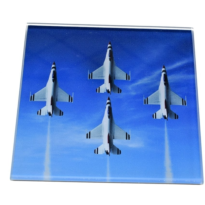 4 Aircraft Display Glass Coaster Single in Box