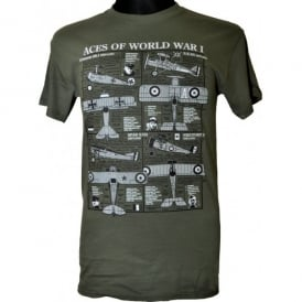Wooden Model Company Aces of WW1 Plan Motif T-Shirt