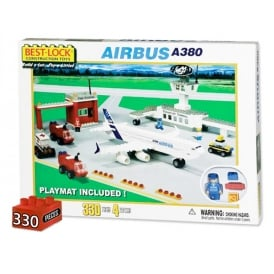 Airbus A380 & Airport Brick Building Set & Mat