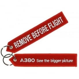 Airbus A380 Red Remove Before Flight Keyring