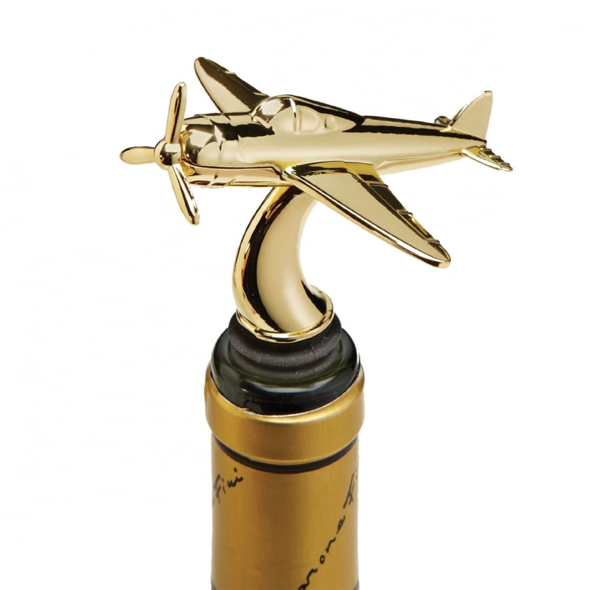 Airplane Gold Bottle Stopper