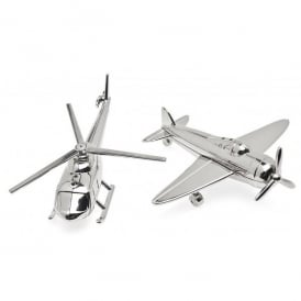 Airplane & Helicopter Nickel Salt & Pepper Set