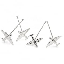 Airplane Nickel Drink Stirrers - Set of 4