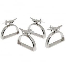 Airplane Nickel Napkin Rings - Set Of 4