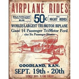 Gifts For Aviators Airplane Rides Retro Tin Sign