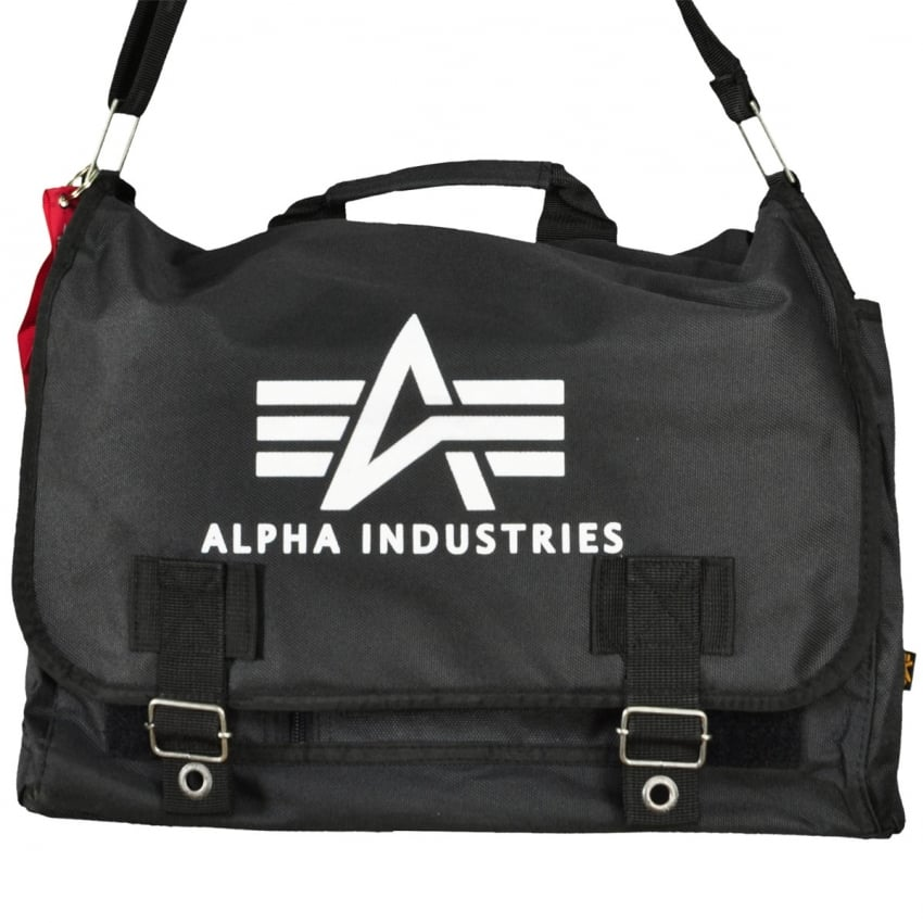 Alpha Big A Oxford Courier Bag in Black