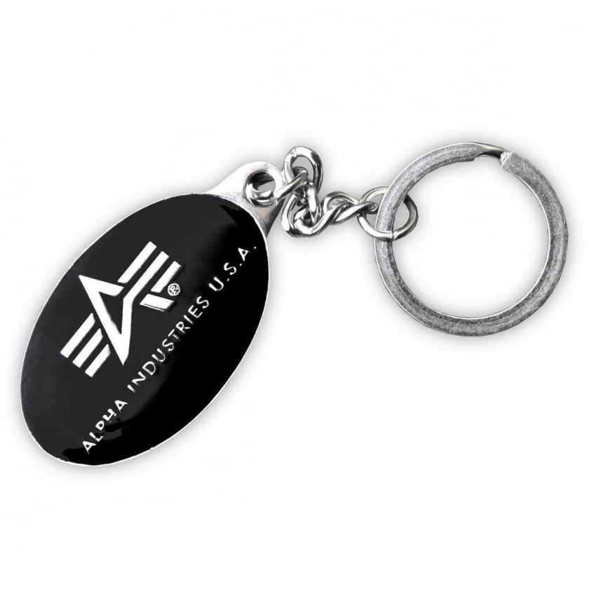 Alpha Black and Chrome Keyring