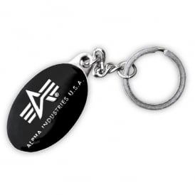 Alpha Industries Alpha Black and Chrome Keyring