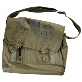 Alpha Cargo Canvas Courier Bag in Olive