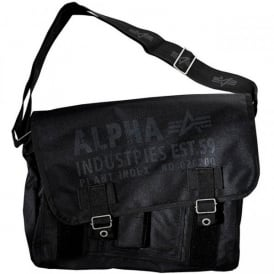 Alpha Cargo Oxford Courier Bag in Black