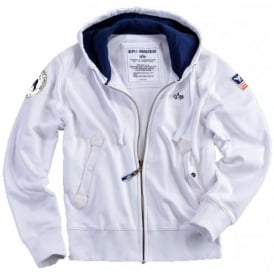 Alpha Industries Alpha Polar Zip Hoodie - White - Last Stock