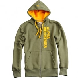 Alpha Industries Alpha Vertical Zip Hoodie - Olive - Last Stock
