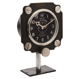 Altimeter Retro Aluminium Mantle Clock in Black