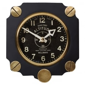 Altimeter Retro Aluminium Wall Clock in Black