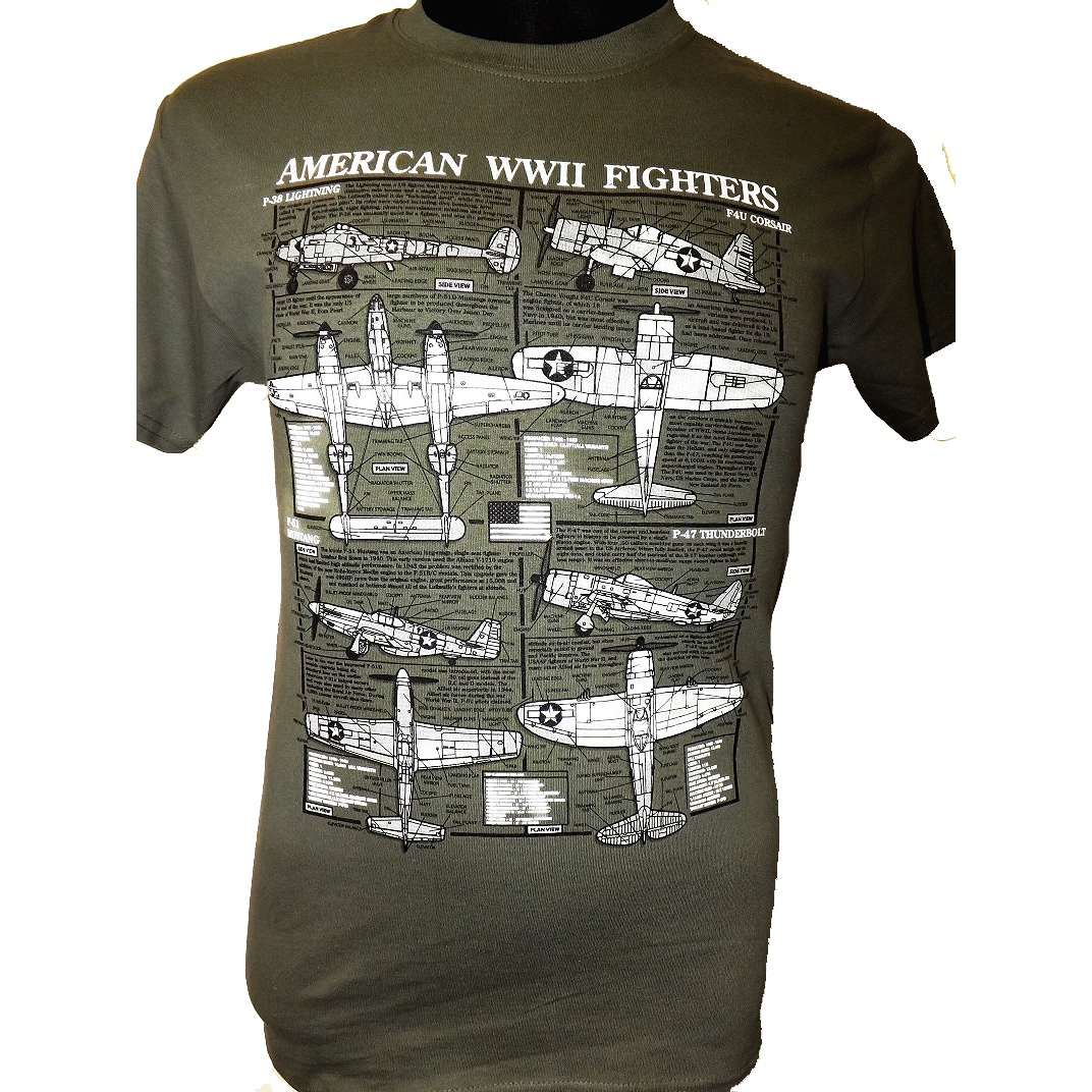 Amercian Fighters Of Ww2 T Shirt In Olive From The Plan Motif Range