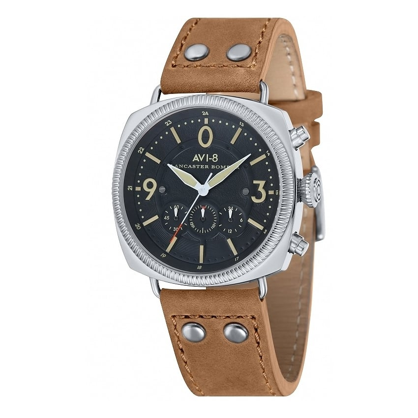 AVI-8 Lancaster Chronograph Watch - Light Brown Leather Strap