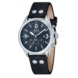 AVI-8 Lancaster Chronograph Watch Round Bezel - Black Strap