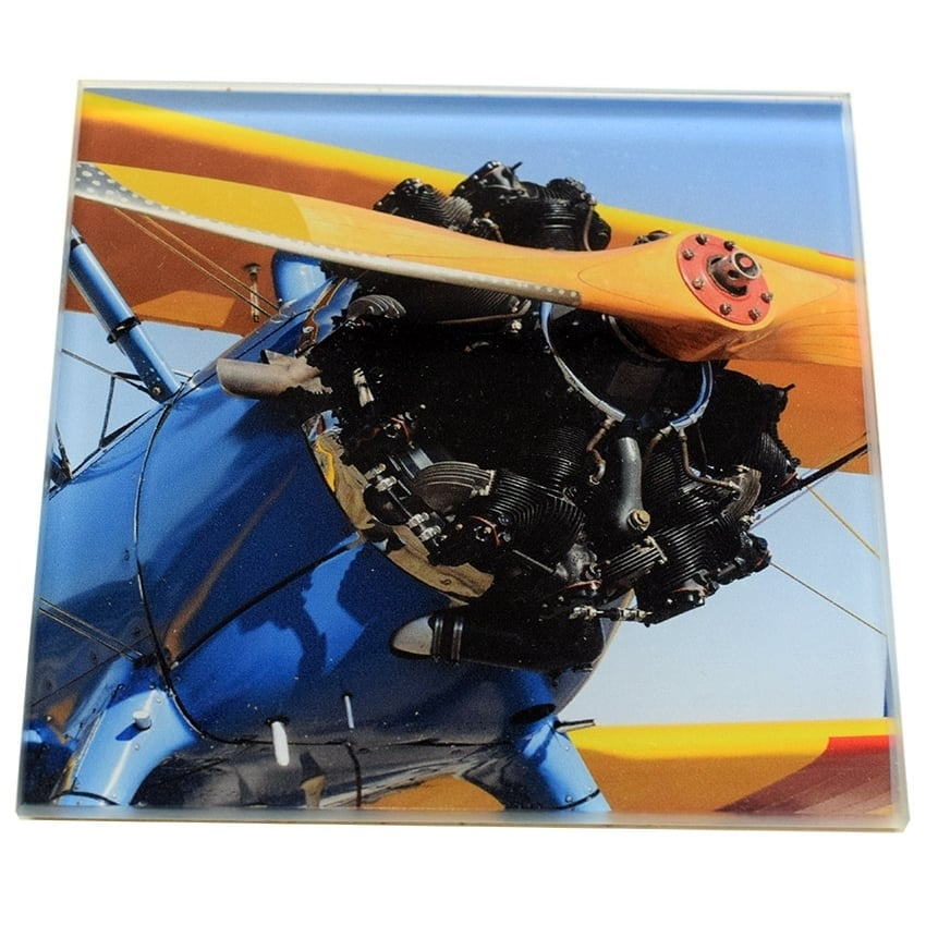 Blue Bi-Plane Glass Coaster Single in Box