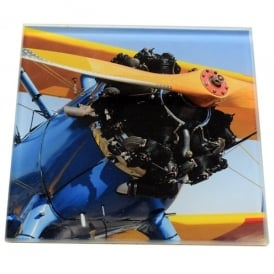 art2glass Blue Bi-Plane Glass Coaster Single in Box