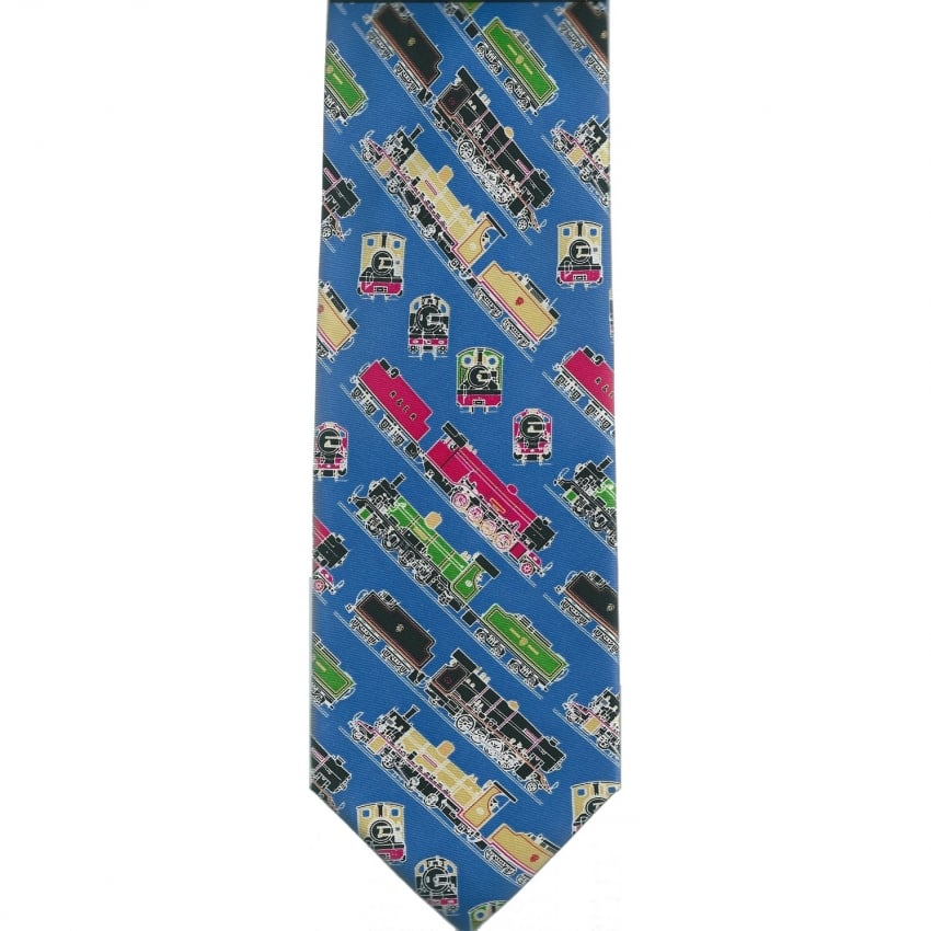 Blue Steam Trains Silk Tie