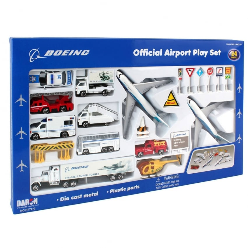Boeing 24 Piece Commercial Airport Play Set