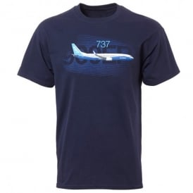Boeing 737 Graphic Profile T-Shirt in Navy