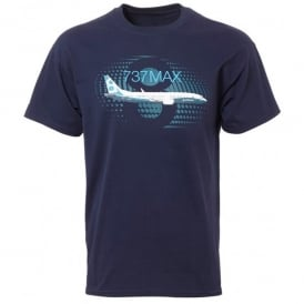 Boeing 737 Max Graphic Profile T-shirt in Blue
