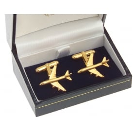 Clivedon Boeing 747-400 Cufflinks - Gold Plated
