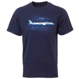 Boeing 777 Graphic Profile T-shirt in Navy