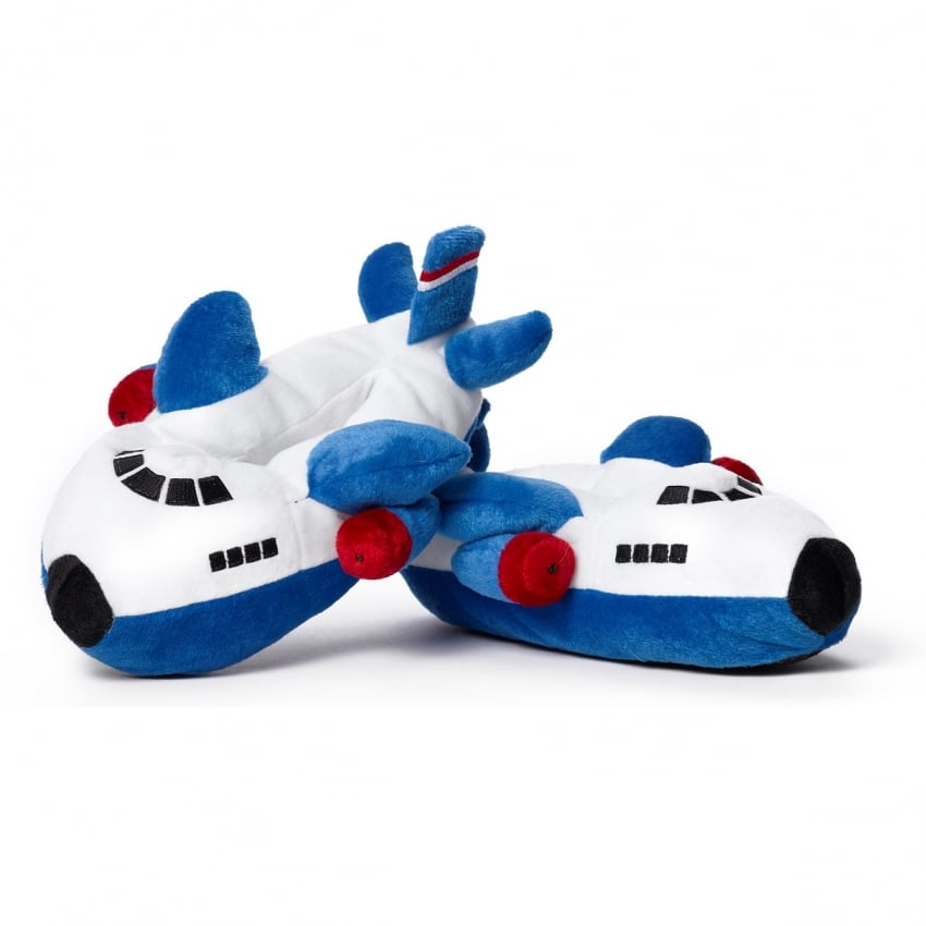 Childrens Plush Blue Aeroplane Slippers