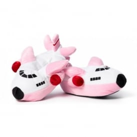 Boeing Childrens Plush Pink Aeroplane Slippers