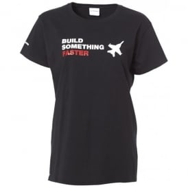 Build Something Faster Ladies T-Shirt - Black
