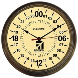 Cessna 24Hr Antique Round Wall Clock - 14