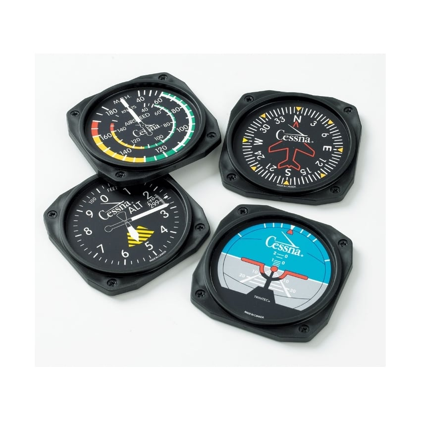 9085 Coaster Set by Trintec 6 Piece Aircraft Six-Pack Instruments