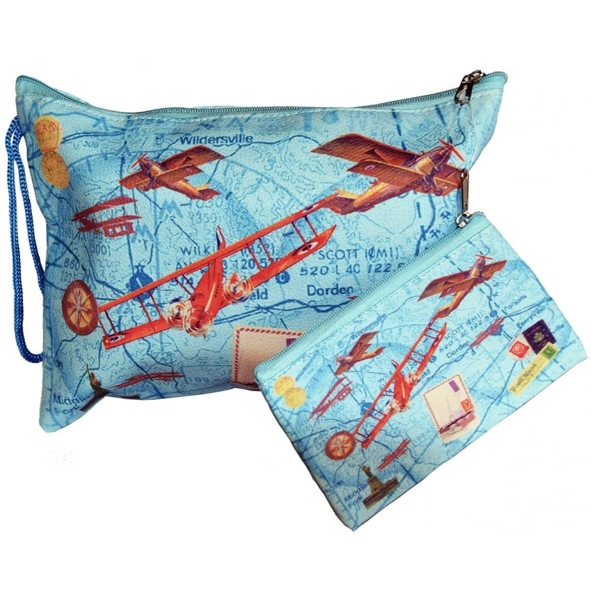 Childrens Aircraft Pouch and Purse Set