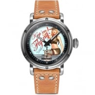 Dogfight Pin Up Watch - Light Brown Leather Strap