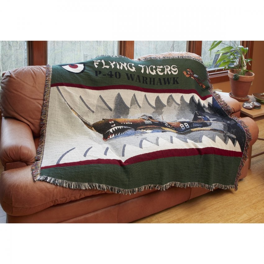 Flying Tigers P-40 Green Throw