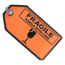 Fragile Handle With Care Embroidered Baggage Tag