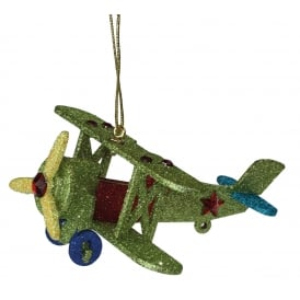 Green Bi-Plane Christmas Ornament