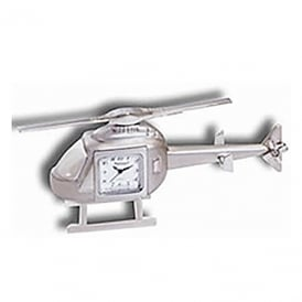 Helicopter Silver Metal Clock