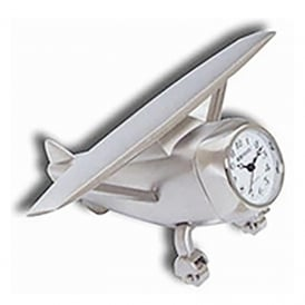 Hi Wing Airplane Silver Metal Clock
