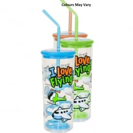 Gifts For Aviators I love Flying Glass with Twisty Straw