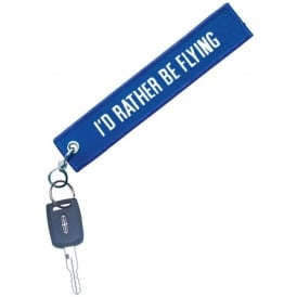 I'd Rather Be Flying Blue/White Embroidered Keyring