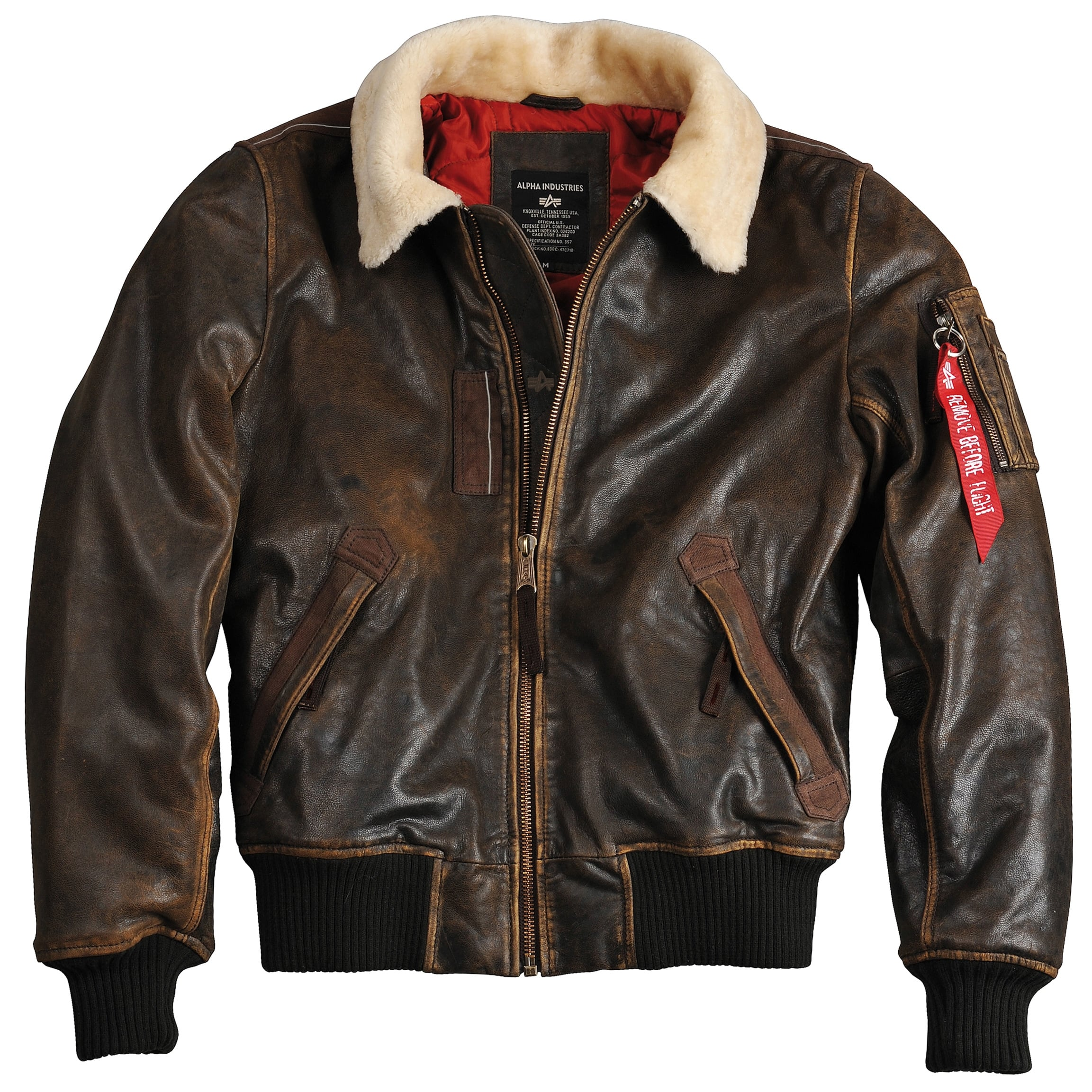 best service 40aae 6234f Injector III Leather Bomber Jacket