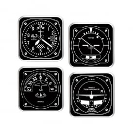 Trintec Instrument 1949 Black and White Coaster Set of 4