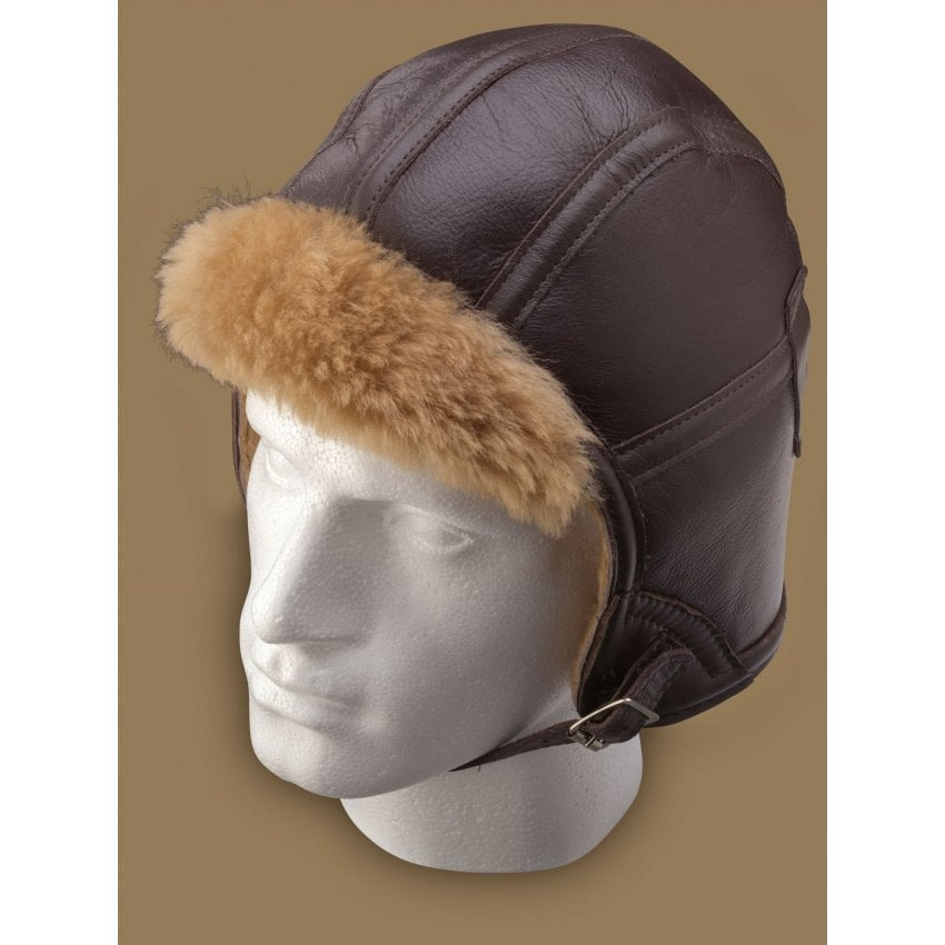 Sheepskin Pilot Helmet - Brown