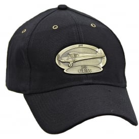 J-3 Cub Airplane Cap with Brass Emblem