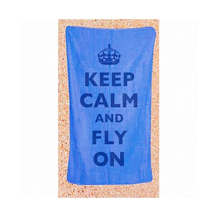 Keep Calm & Fly On Beach Towel - Blue