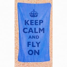 Gifts For Aviators Keep Calm & Fly On Beach Towel - Blue