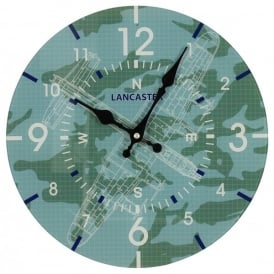 RAF Lancaster Blueprint Glass Wall Clock